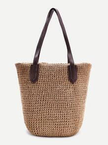 Simple Straw Tote Bag With Zipper