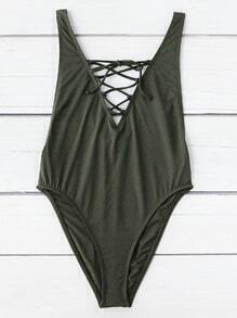 Criss Cross V Neck Swimsuit