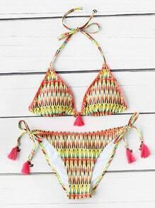 Sets de bikini triángulo con estampado con cordón con fleco
