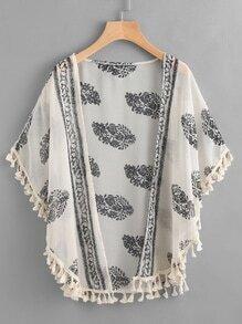 Printed Random Tassel Hem Chiffon Kimono