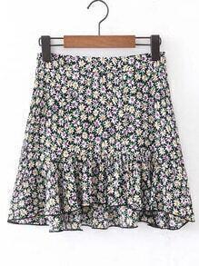 Ditsy Print Ruffle Hem Skirt