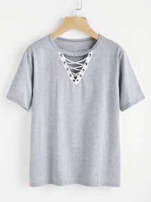 Criss Cross V Cut Slub Tee