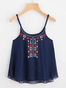 Embroidery High Low Chiffon Cami Top