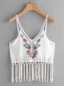 Embroidery Fringe Trim Chiffon Cami Top