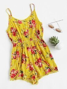 Pom Pom Trim Flower Print Wrap Cami Playsuit