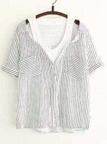 Contrast Striped 2 In 1 Blouse