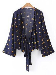 Bell Sleeve Banana Print Tie Detail Top
