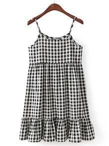 Checkered Ruffle Hem Cami Dress