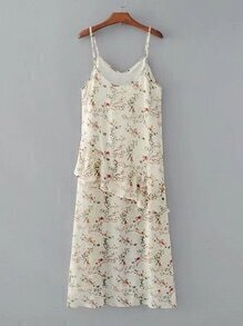 Frill Trim Floral Cami Dress