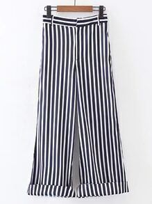 Vertical Striped Rolled Hem Wide Leg Pants