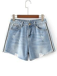 Striped Side Raw Hem Denim Shorts