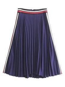 Striped Trim Zipper Back Pleated Skirt
