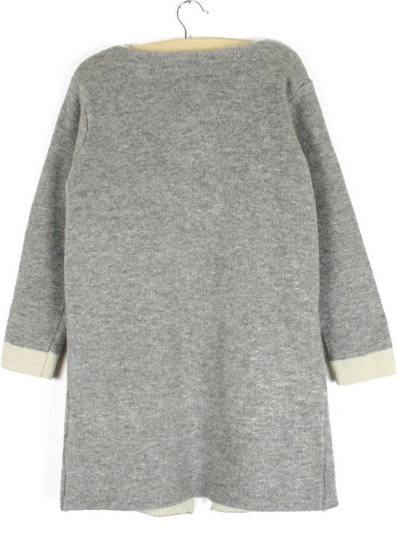 Plain Loose Knit Grey Cardigan