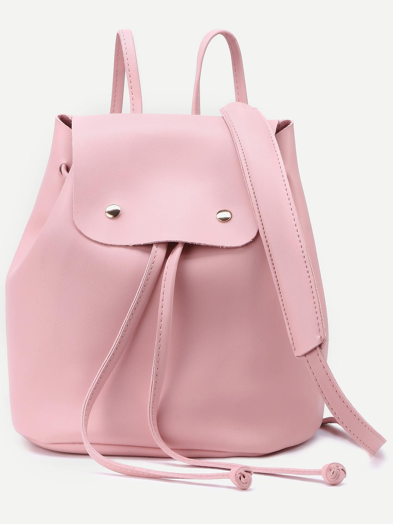Pink Faux Leather Drawstring Flap Backpack With Clutchfor