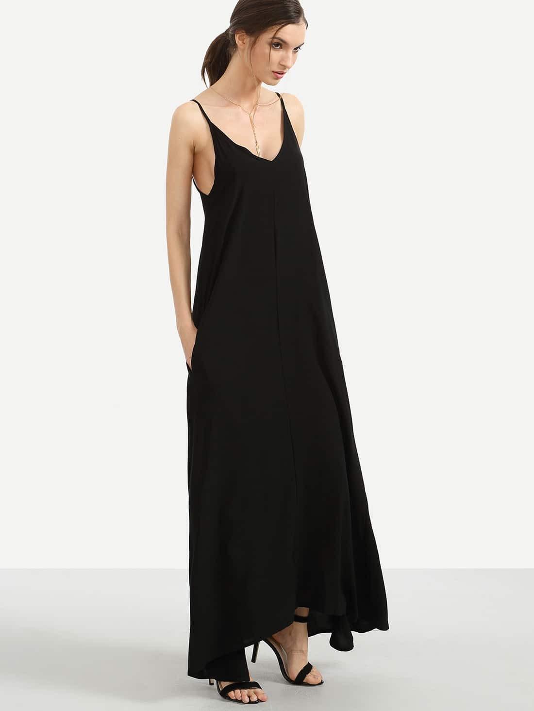 robe longue d contract bretelle avec poches noir french romwe. Black Bedroom Furniture Sets. Home Design Ideas