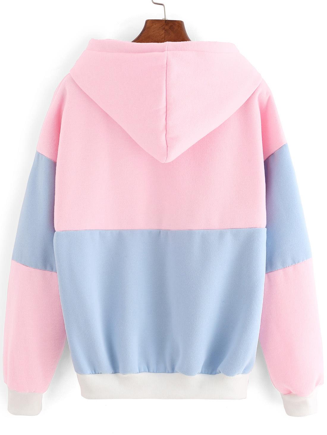 Color Block Drawstring Hooded SweatshirtFor Women-romwe