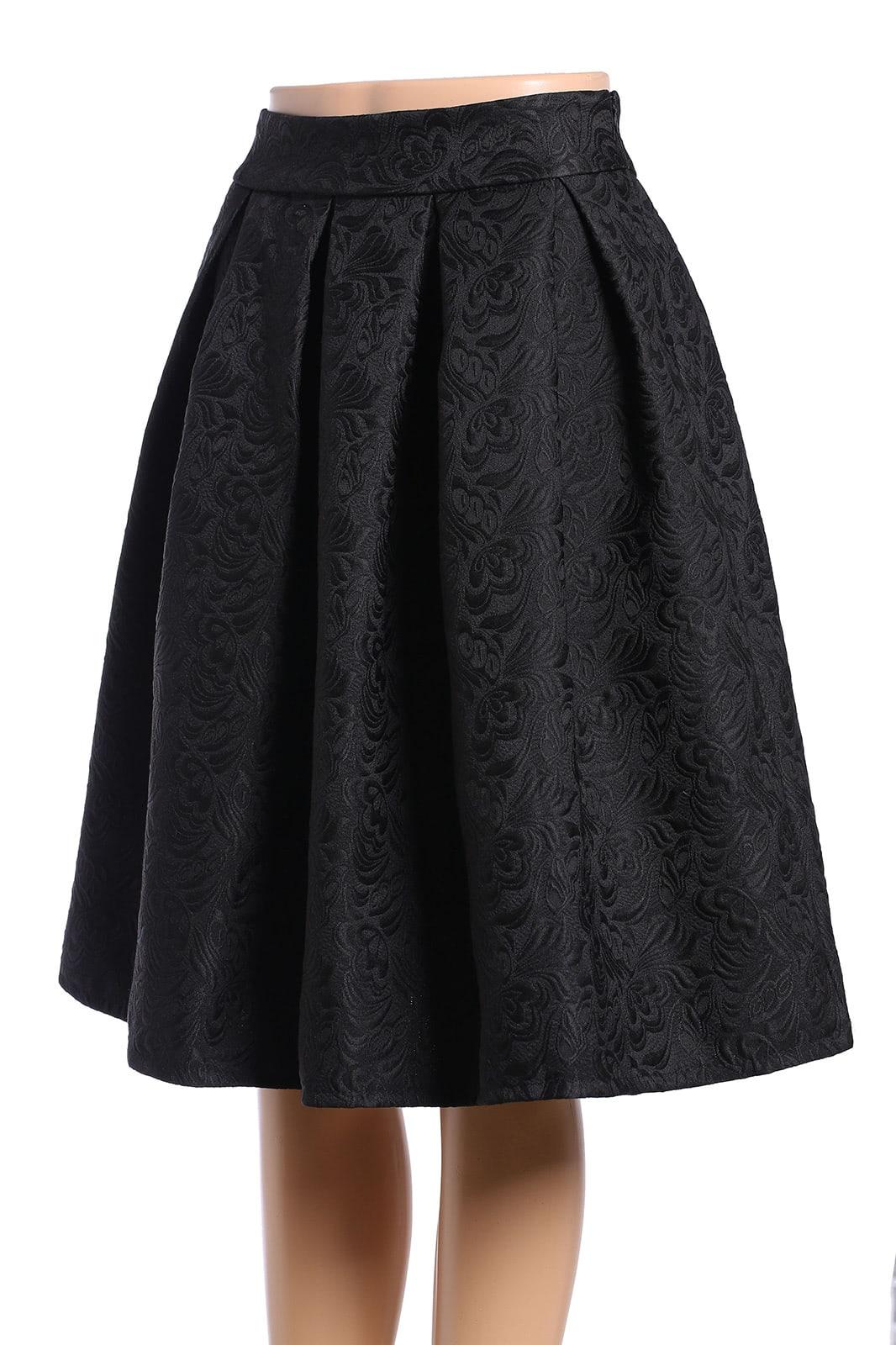 jacquard black midi skirtfor romwe