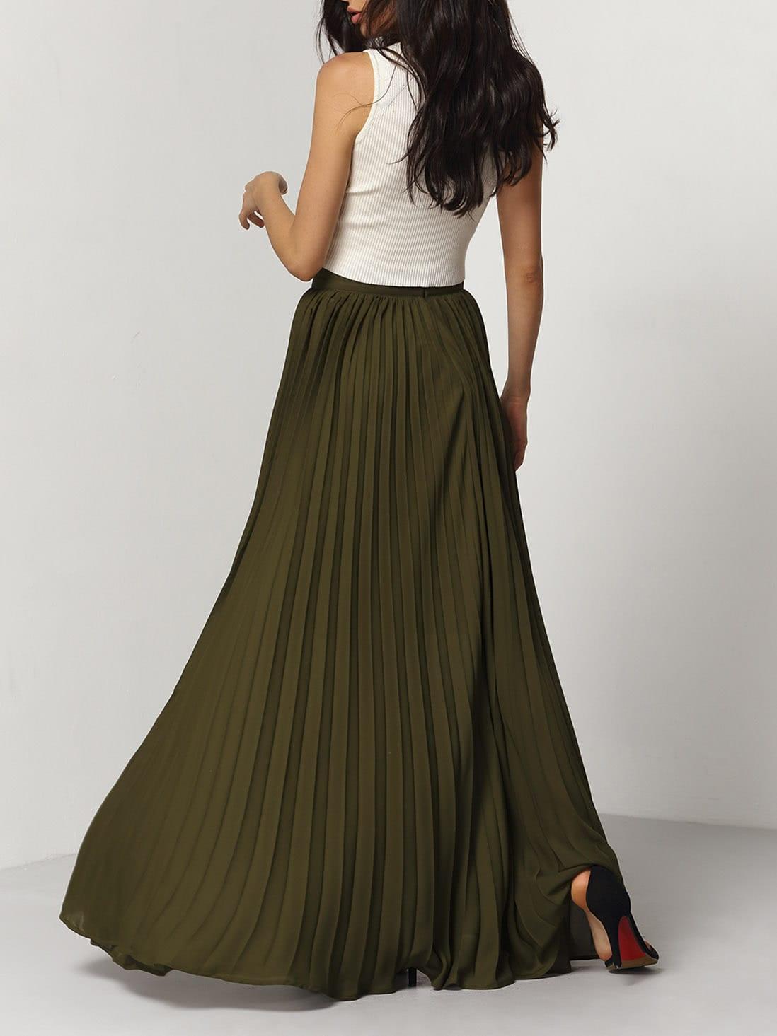 jupe longue pliss e vert kaki french romwe. Black Bedroom Furniture Sets. Home Design Ideas