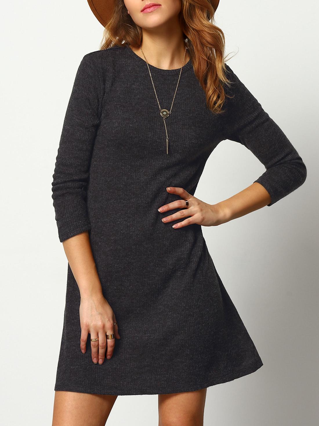 dark grey crew neck casual sweater dress. Black Bedroom Furniture Sets. Home Design Ideas
