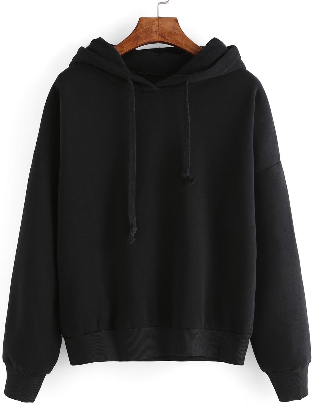 Black Hooded Long Sleeve Crop Sweatshirt