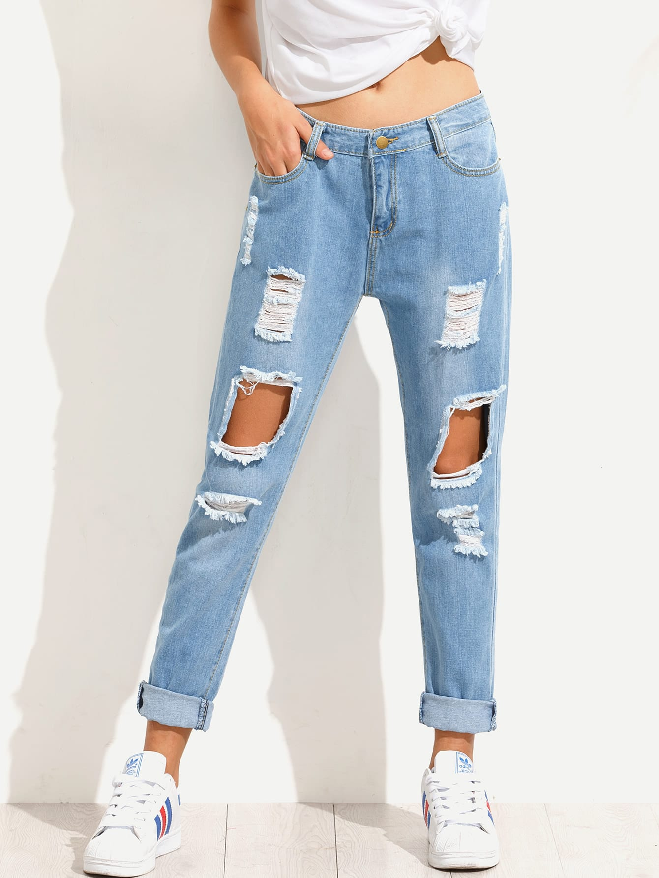 Blue Distressed Boyfriend JeansFor Women-romwe