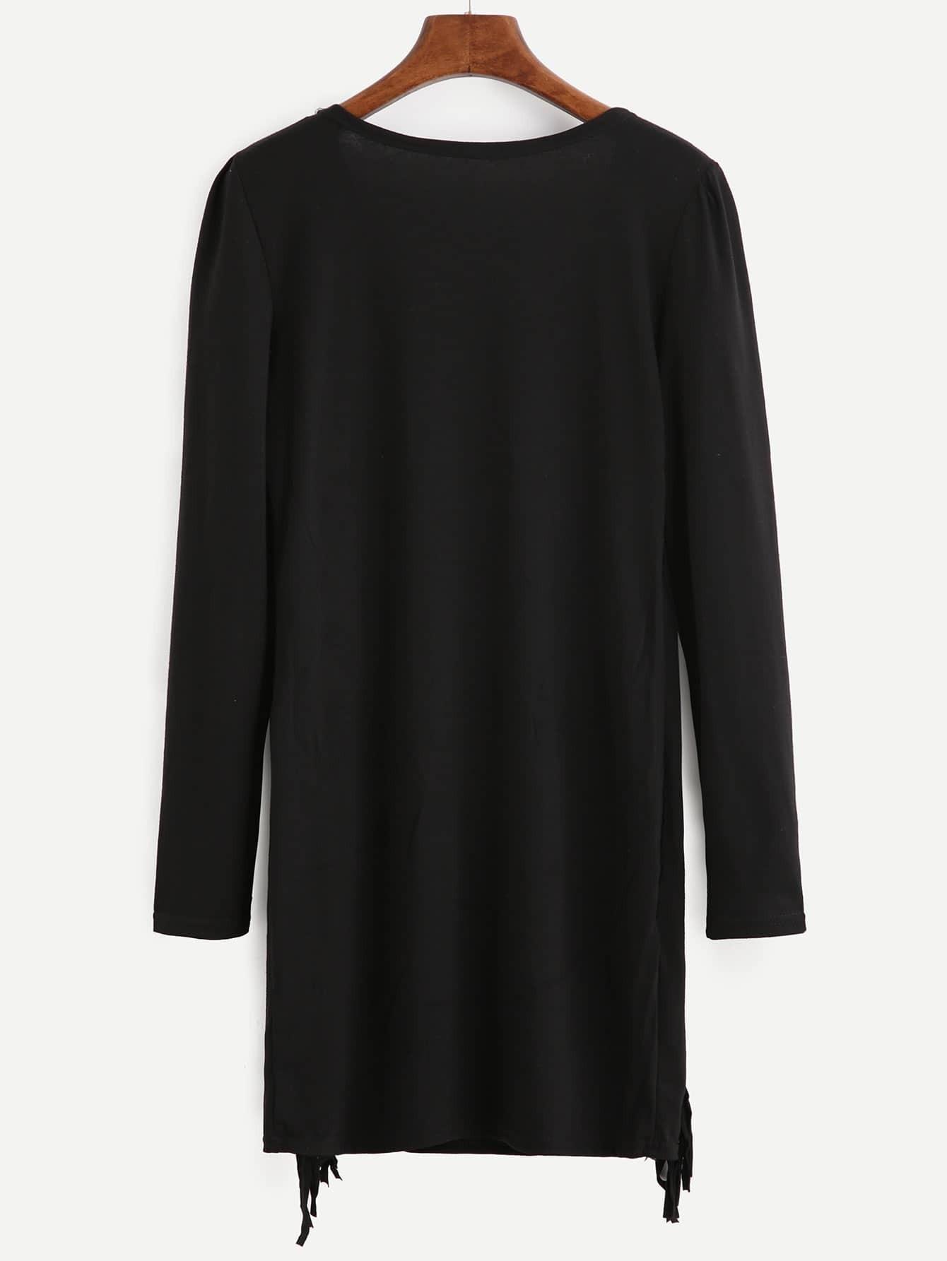 robe t shirt manche longue avec franges noir french romwe. Black Bedroom Furniture Sets. Home Design Ideas