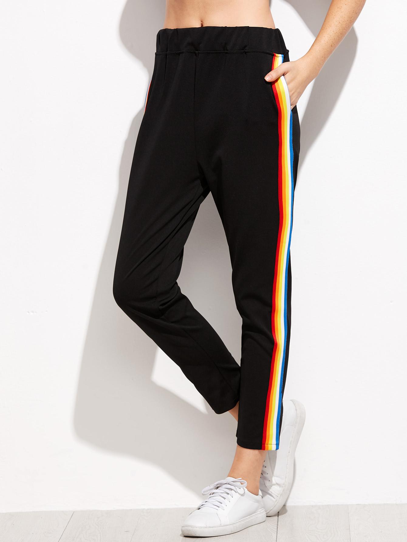 Black Rainbow Stripe Side Pantsfor Women Romwe
