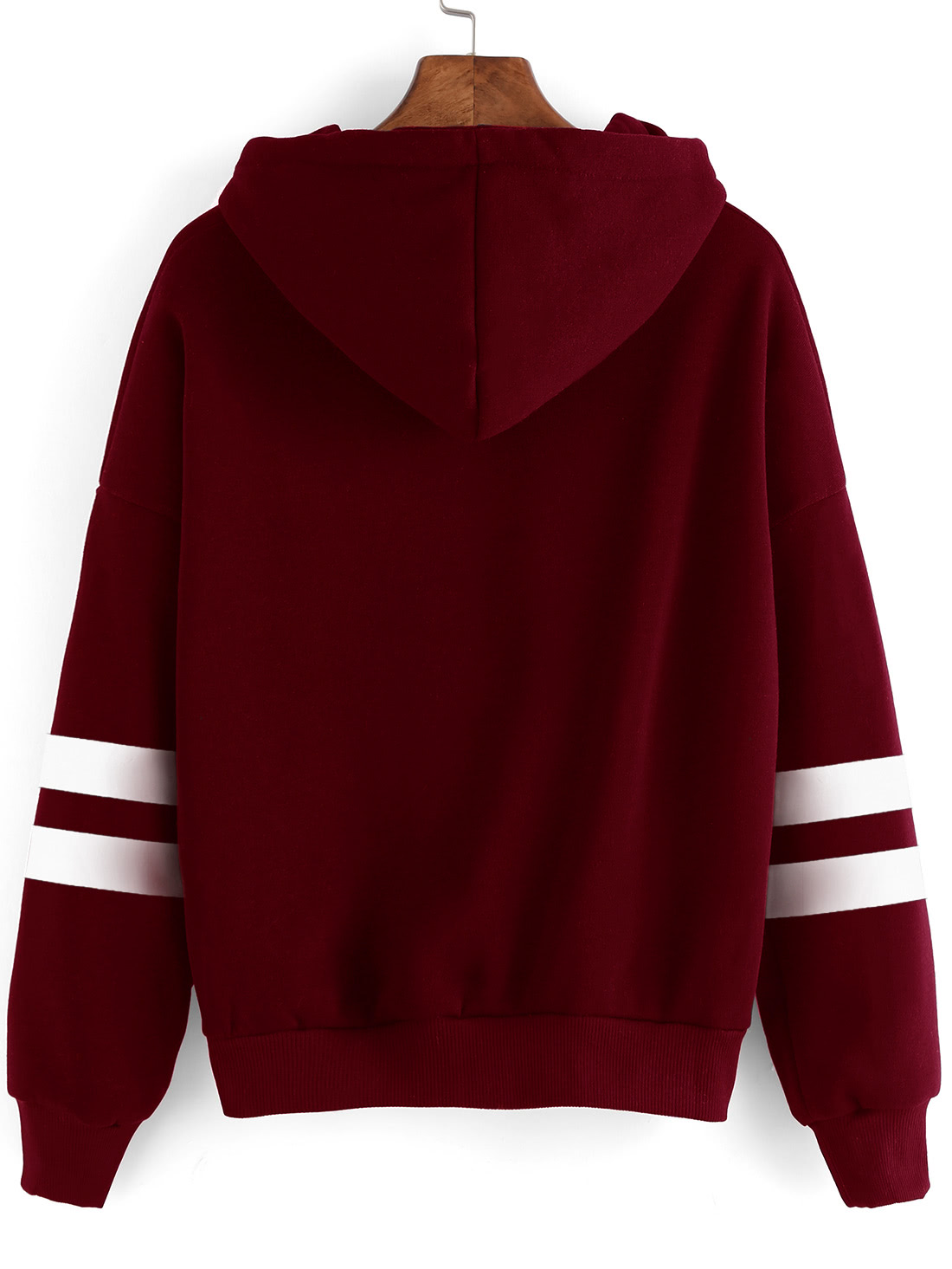 Burgundy Drop Shoulder Varsity Striped Hooded SweatshirtFor Women ...