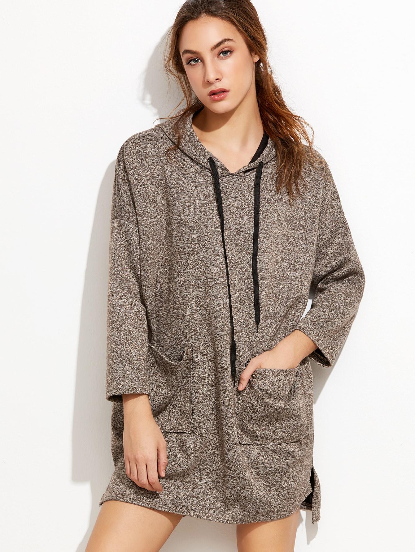 robe sweat shirt avec capuche et poche kaki. Black Bedroom Furniture Sets. Home Design Ideas