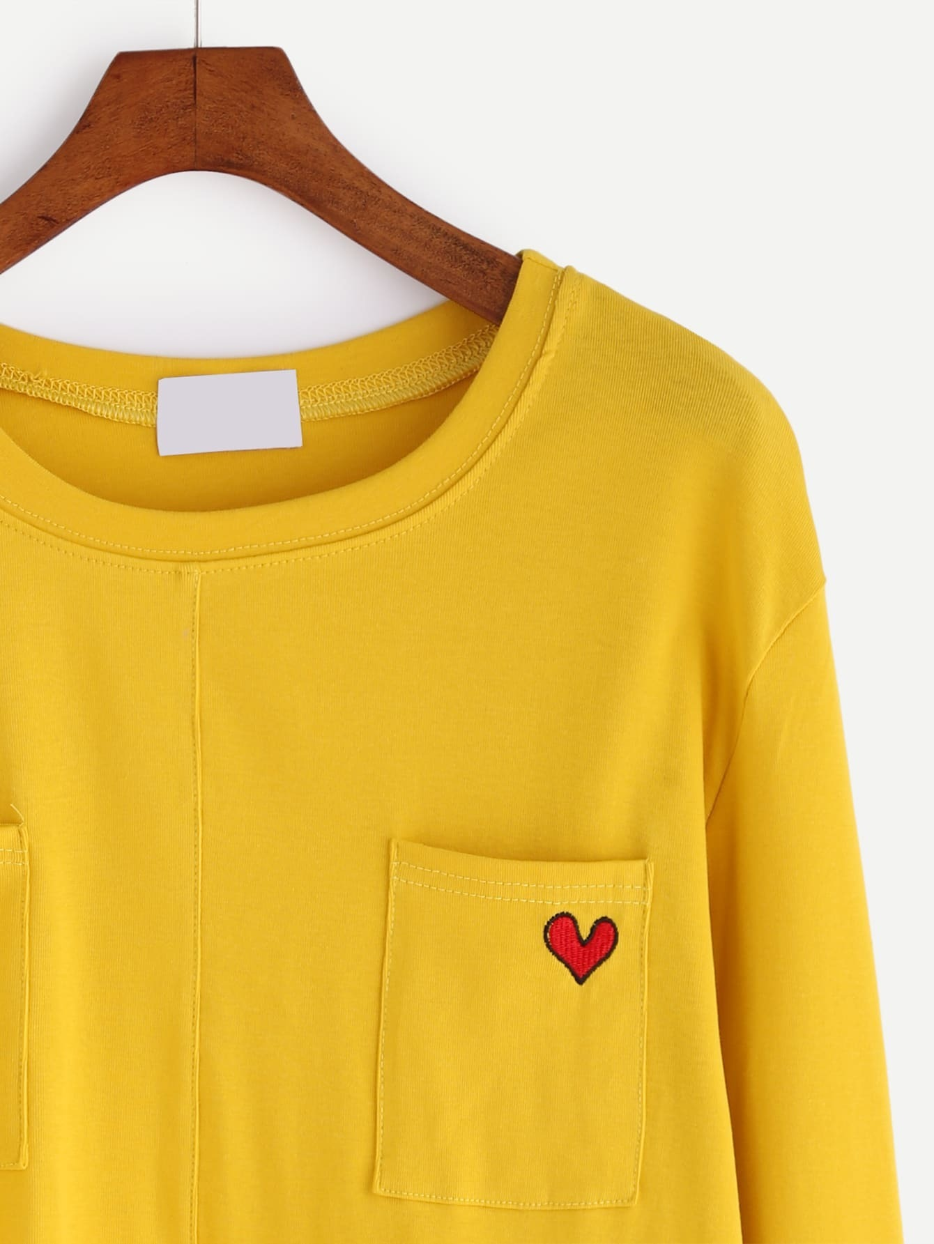 Yellow heart embroidered pockets t shirtfor women romwe