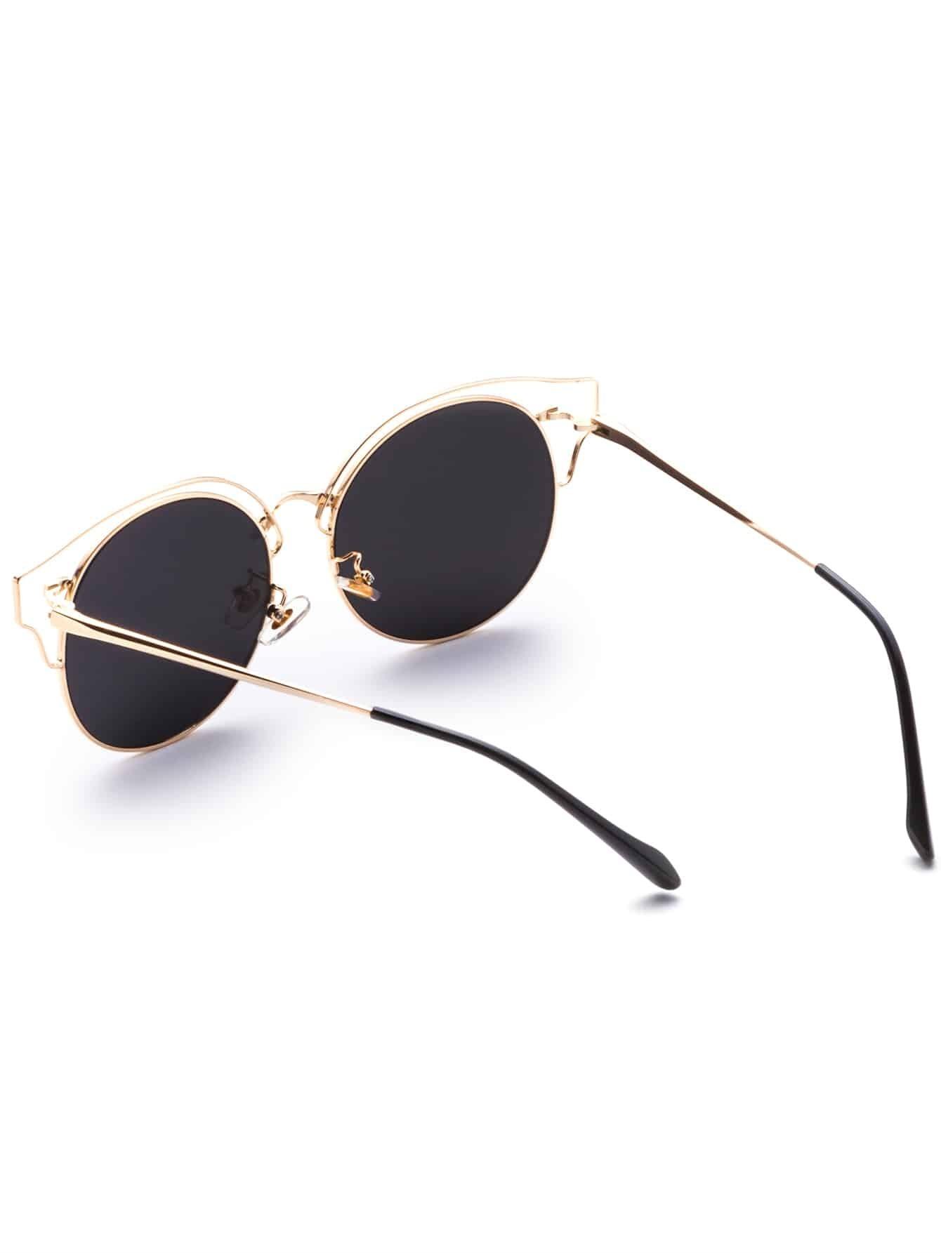 Gold Frame Cat Eye Sunglasses : Gold Frame Silver Lens Cat Eye Sunglasses