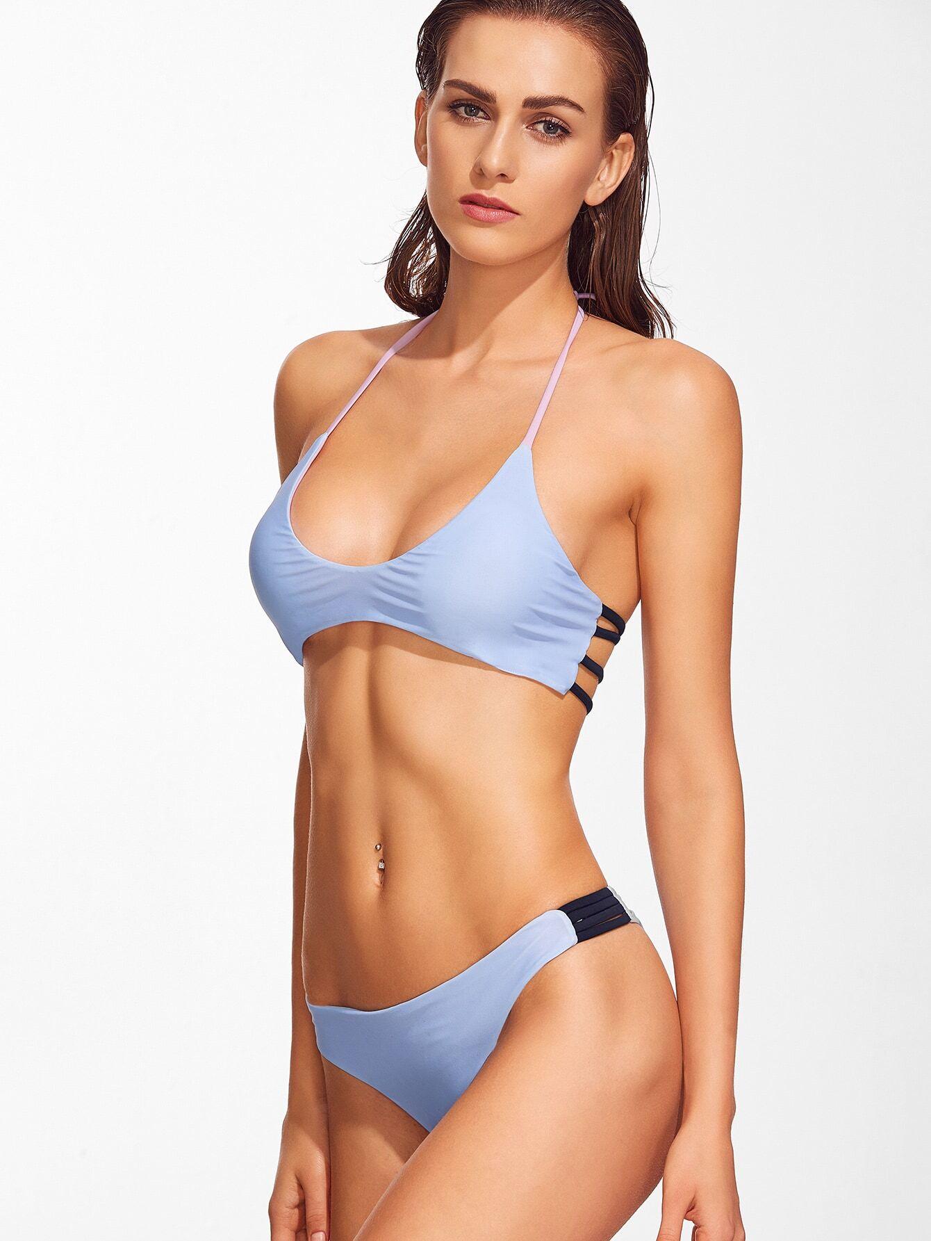 Blue Ladder Cutout Halter Bikini Set