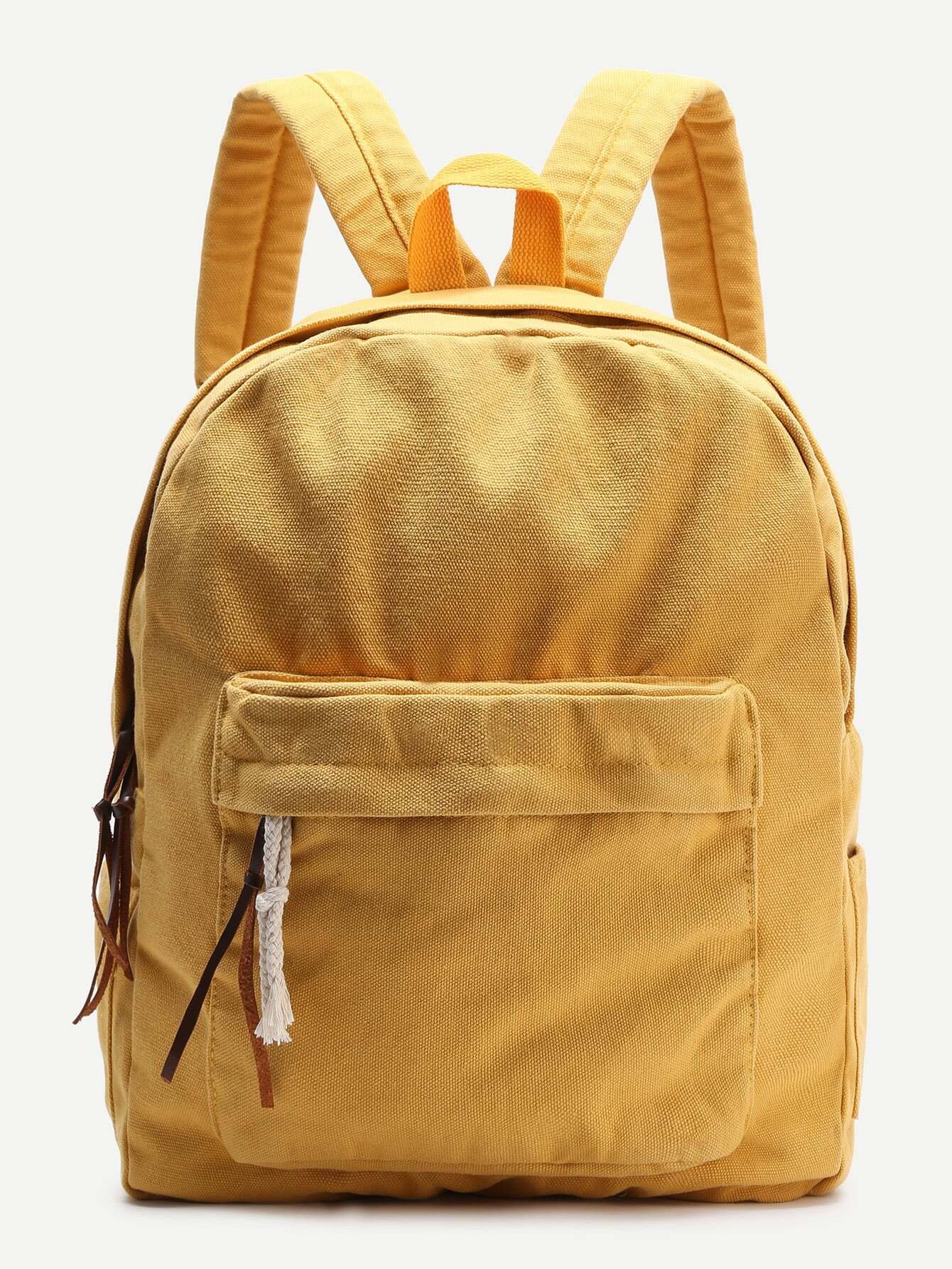 Yellow Zipper Front Canvas BackpackFor Women-romwe