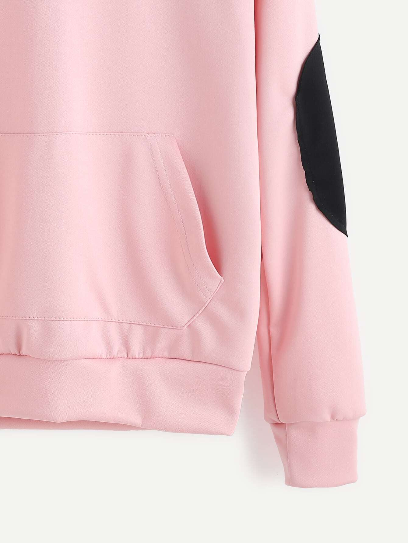elbow patch template - pink elbow patch hooded sweatshirtfor women romwe