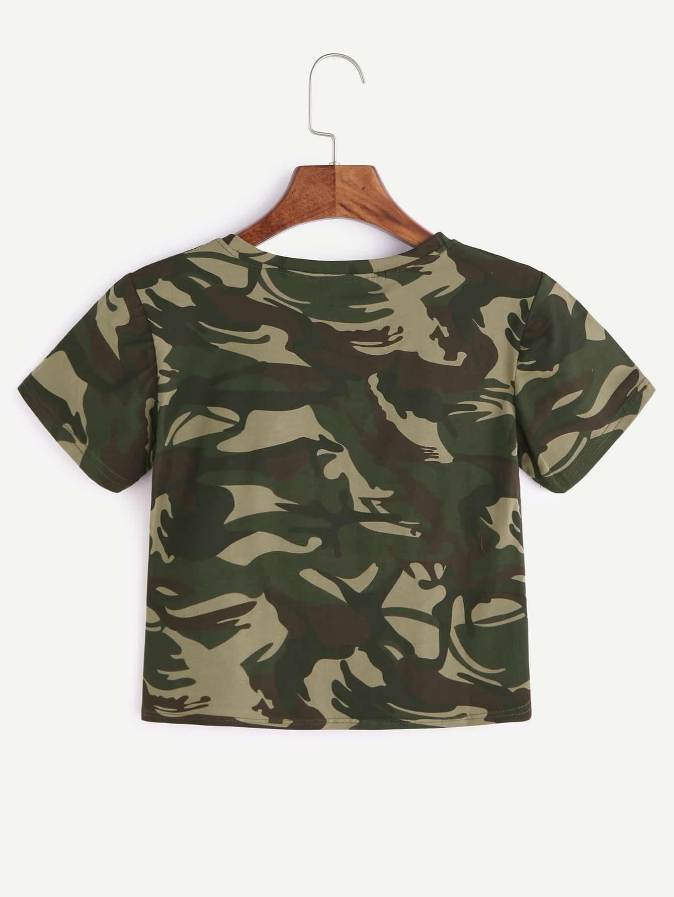 camouflage imprimer crop t shirt french romwe. Black Bedroom Furniture Sets. Home Design Ideas