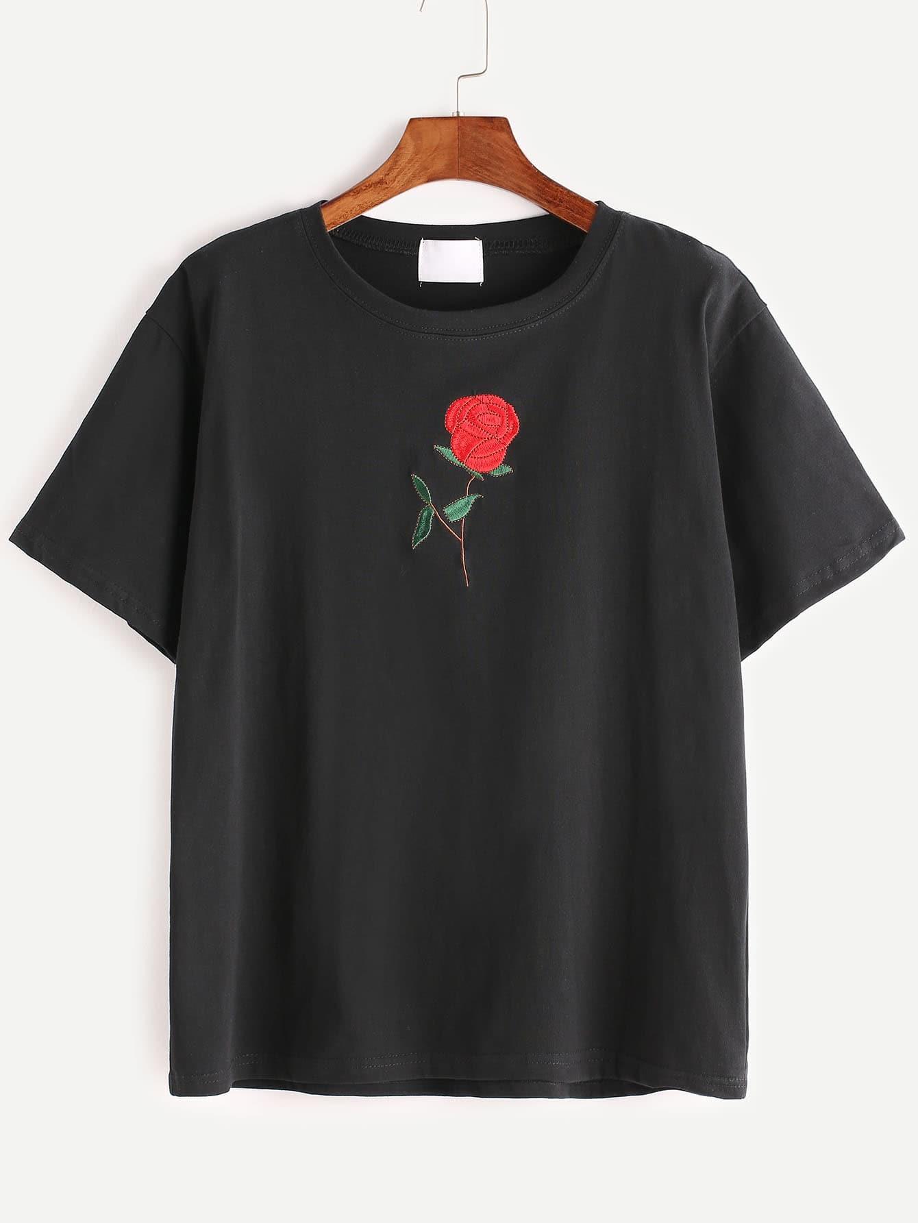 Black Rose Embroidered Short Sleeve T-shirtFor Women-romwe