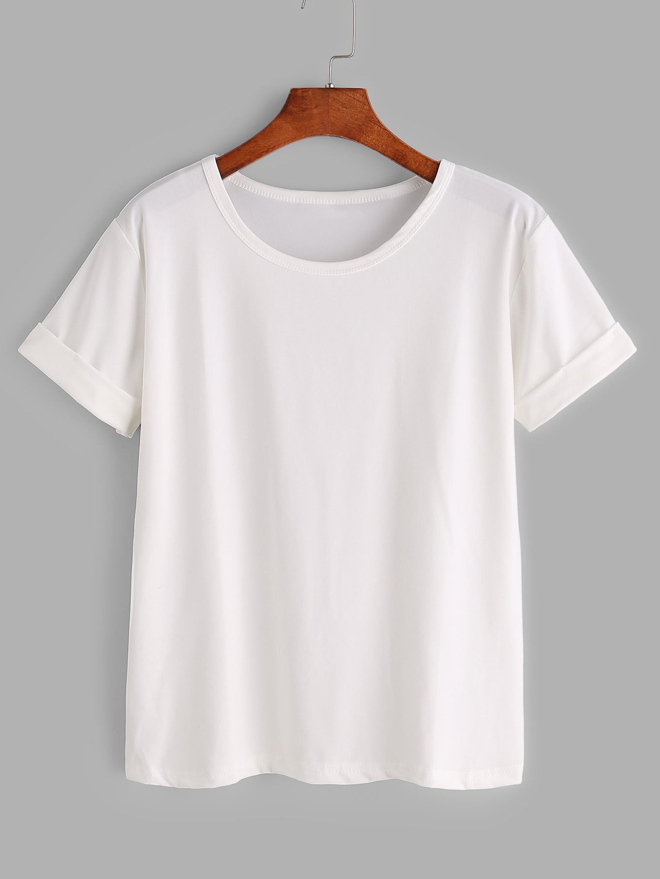 White rolled sleeve basic t shirtfor women romwe for Who makes the best white t shirts