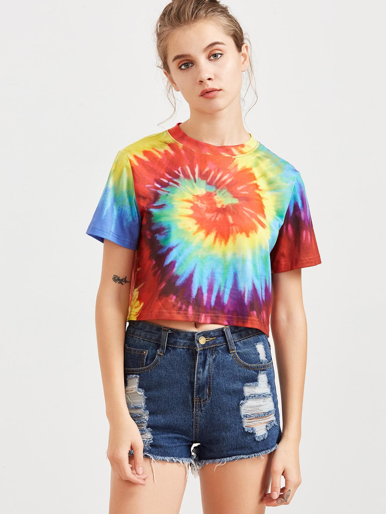 Multicolor tie dye print crop t shirtfor women romwe for Types of tie dye shirts