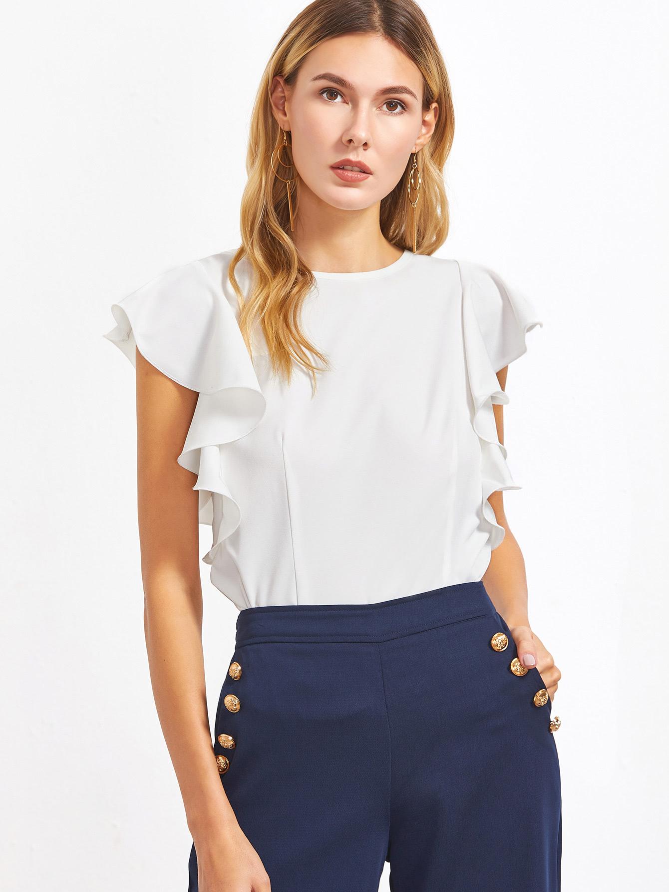 White Ruffle Sleeve TopFor Women-romwe