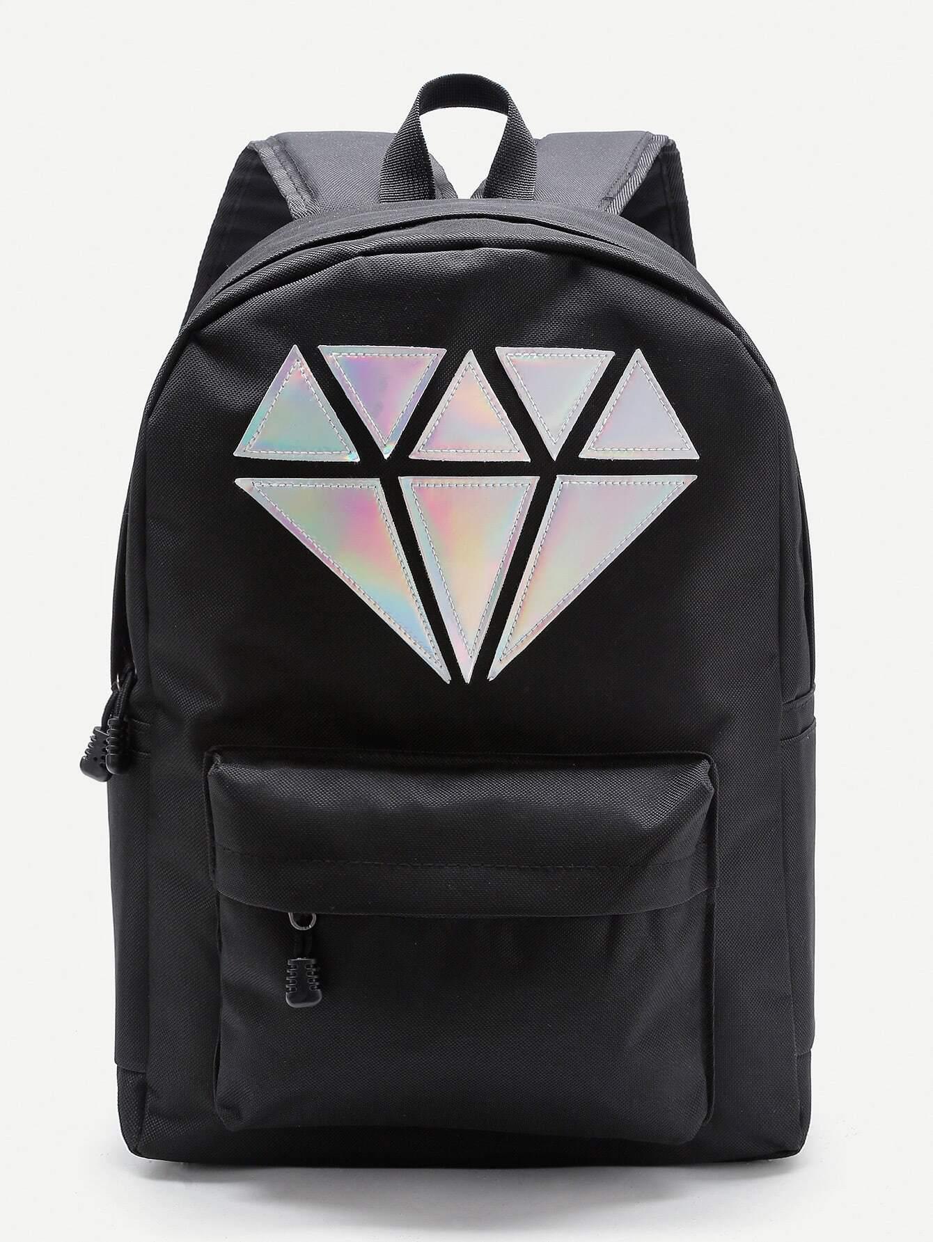 mochila con parche de diamante met u00e1lico y bolsillo en la