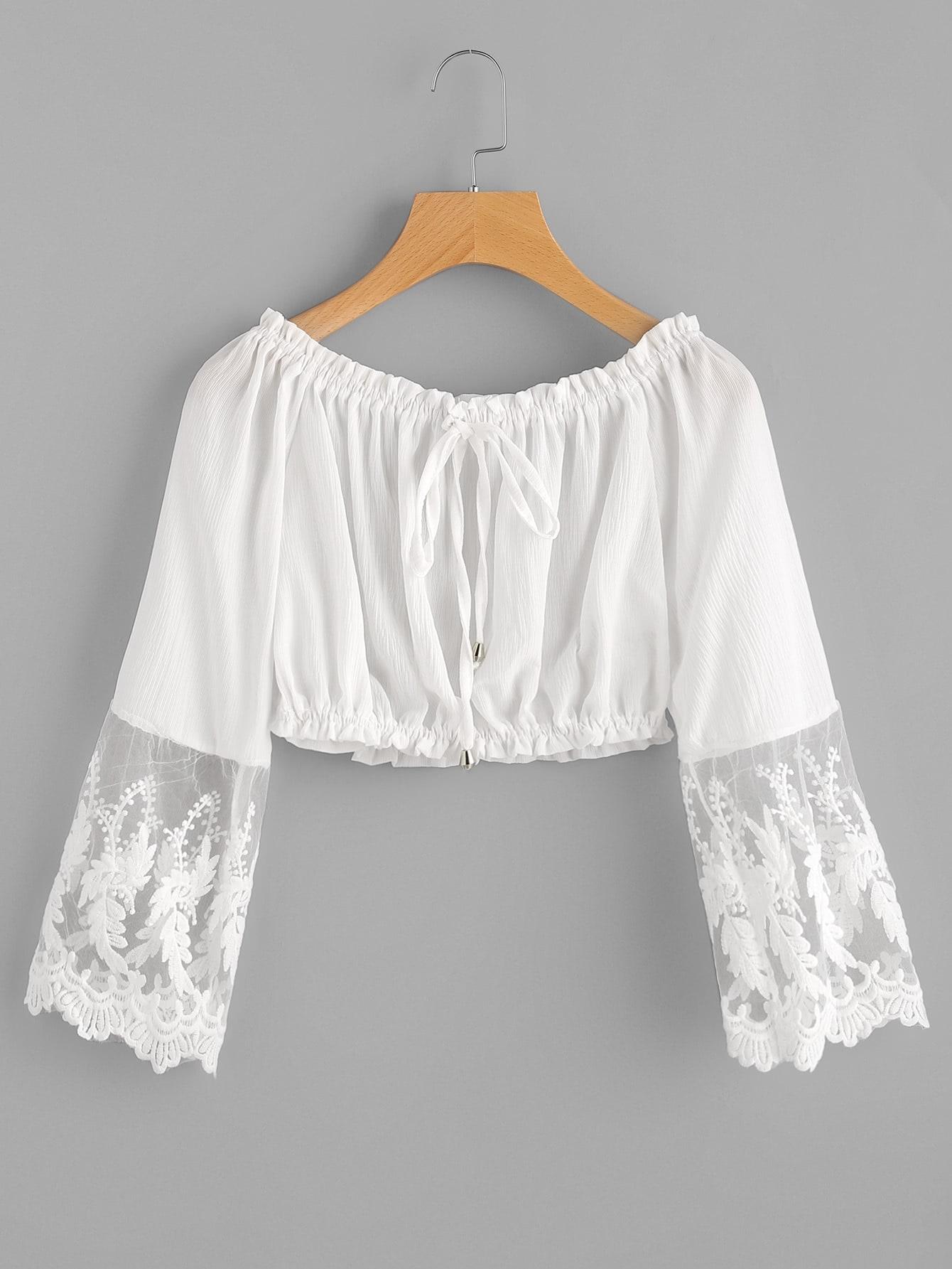 Embroidered Mesh Cuff Shirred Crop Topfor Women Romwe