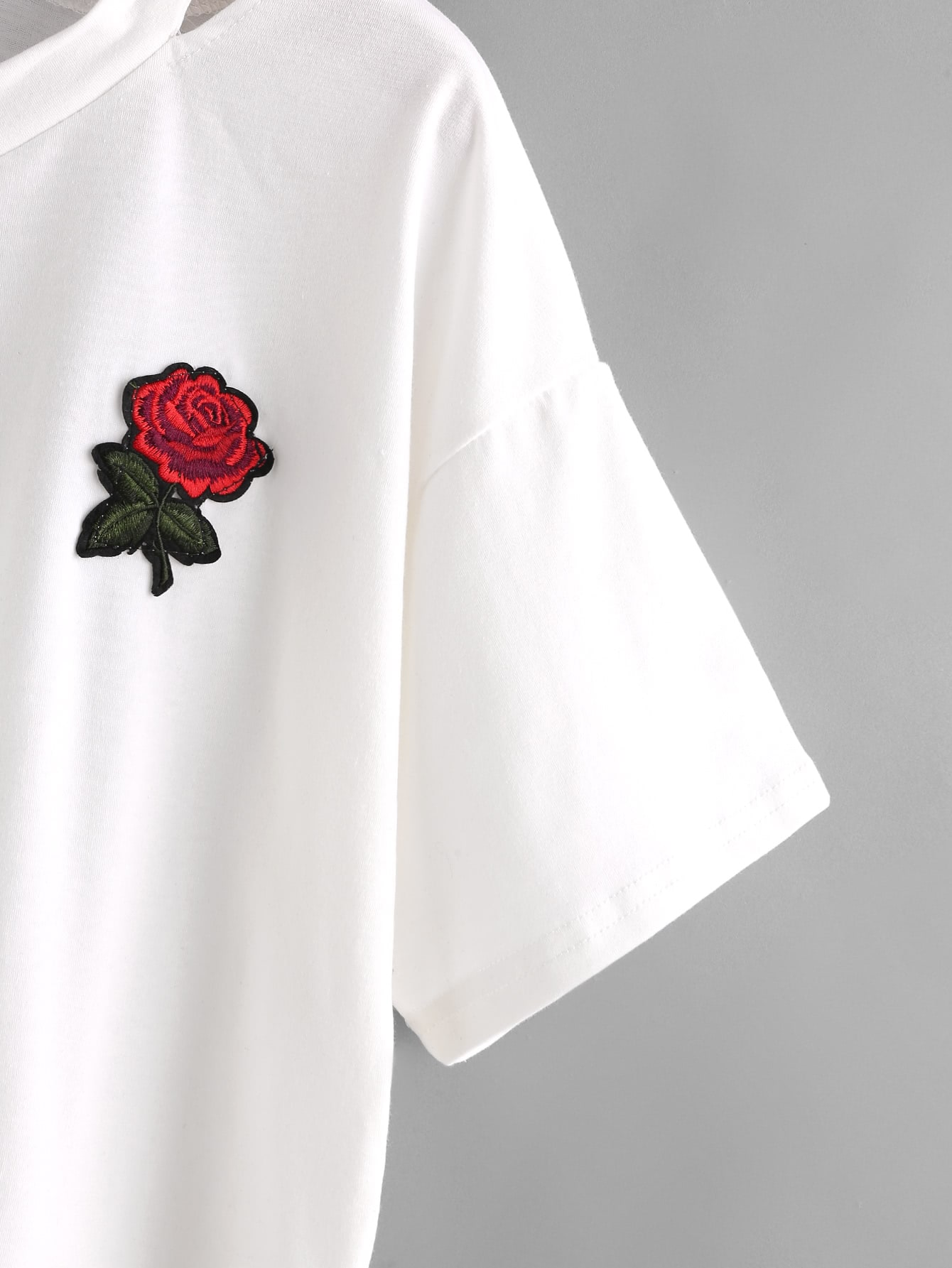 Cut out neck rose embroidered patch teefor women romwe