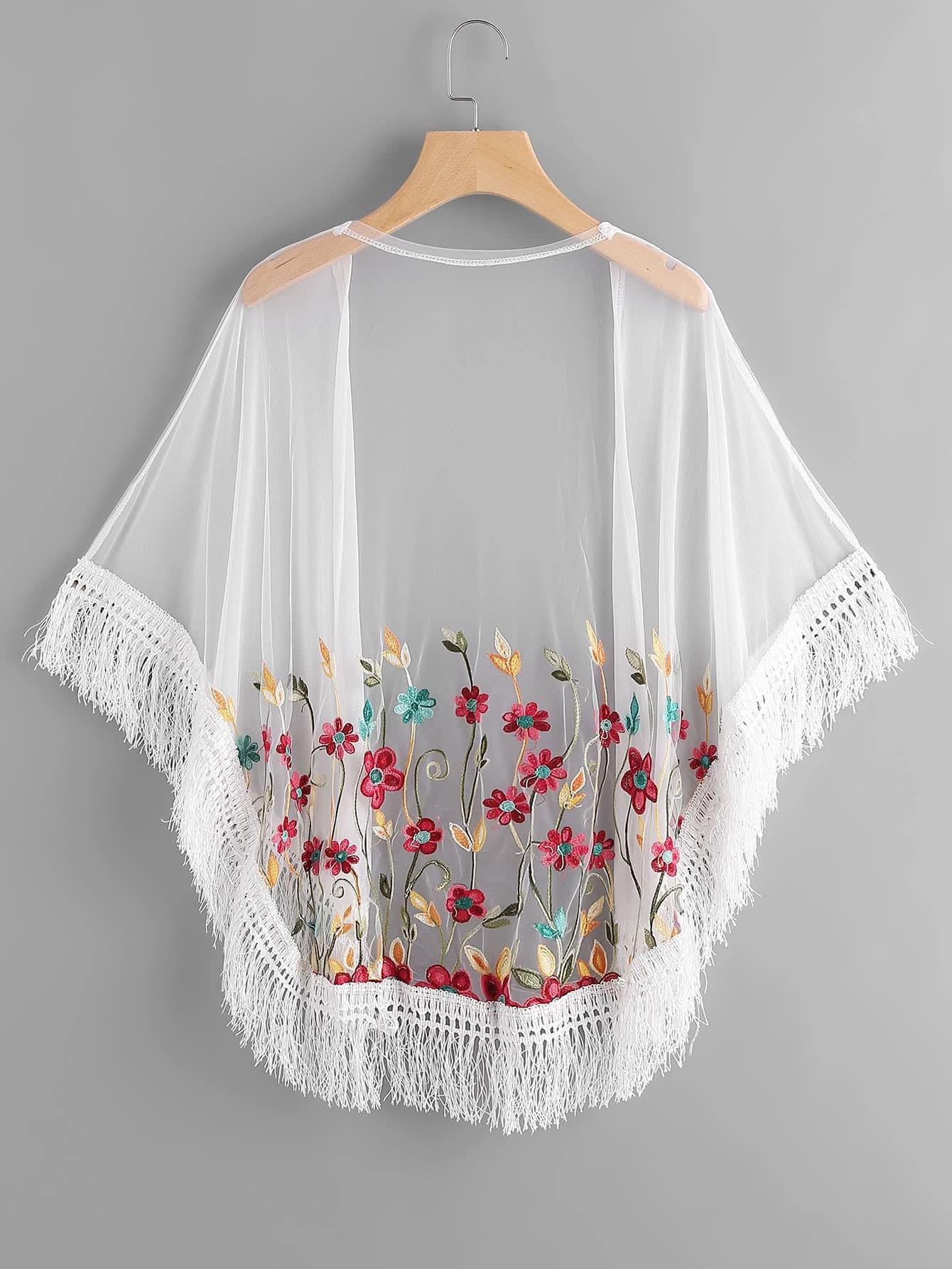 Floral embroidered tassel hem sheer mesh kimonofor women romwe
