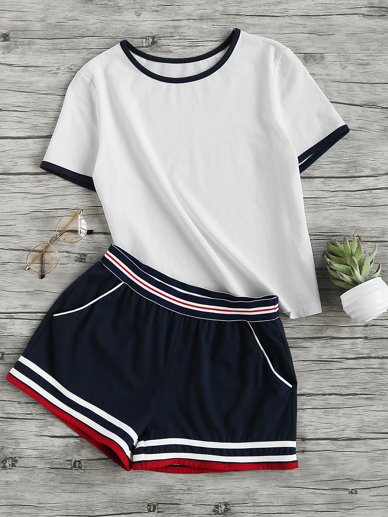 Ringer Tee And Striped Waist Binding Shorts SetFor Women-romwe