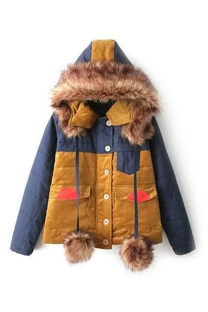 Faux Fur Single-breasted Panel Coat