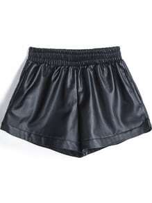 Elastic PU Black Shorts