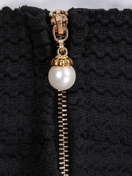 Zipper Striped Flare Skirt
