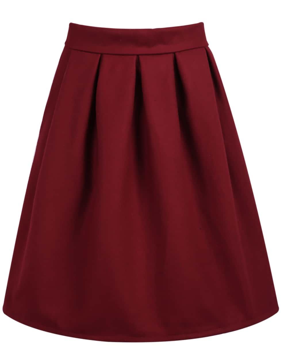 High Waist Wine Red Skirtfor Women Romwe