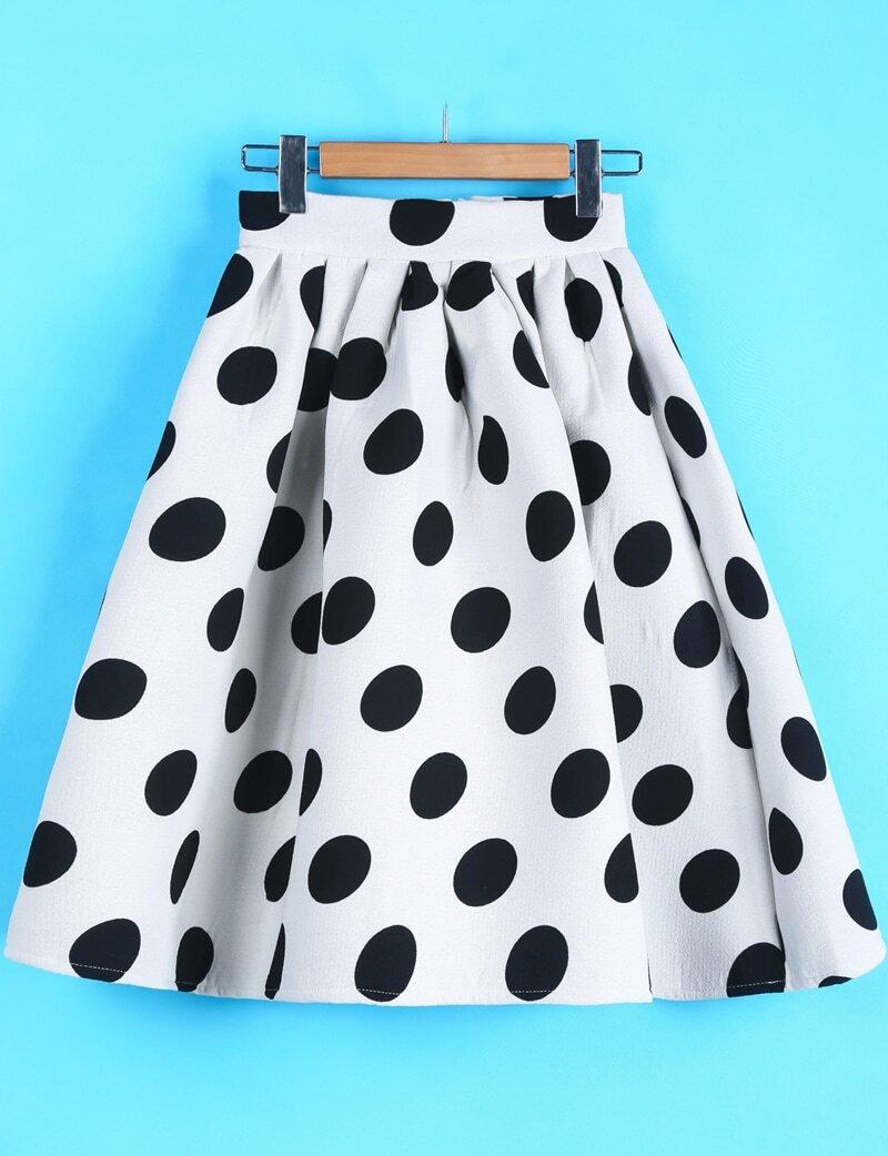Polka Dot Midi SkirtFor Women-romwe