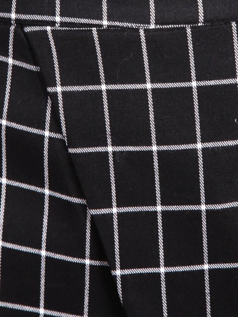 Black Plaid Wrap Mini Skirt Romwe